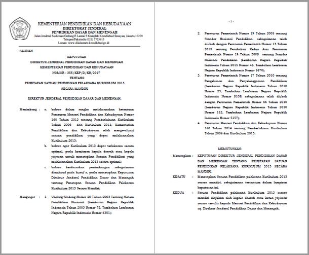 Penetapan Satuan Pendidikan Pelaksana Kurikulum 2013 Secara Mandiri