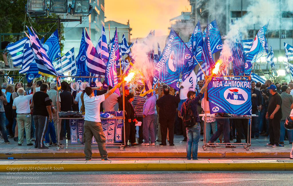 a photo of a political rally in athens greece