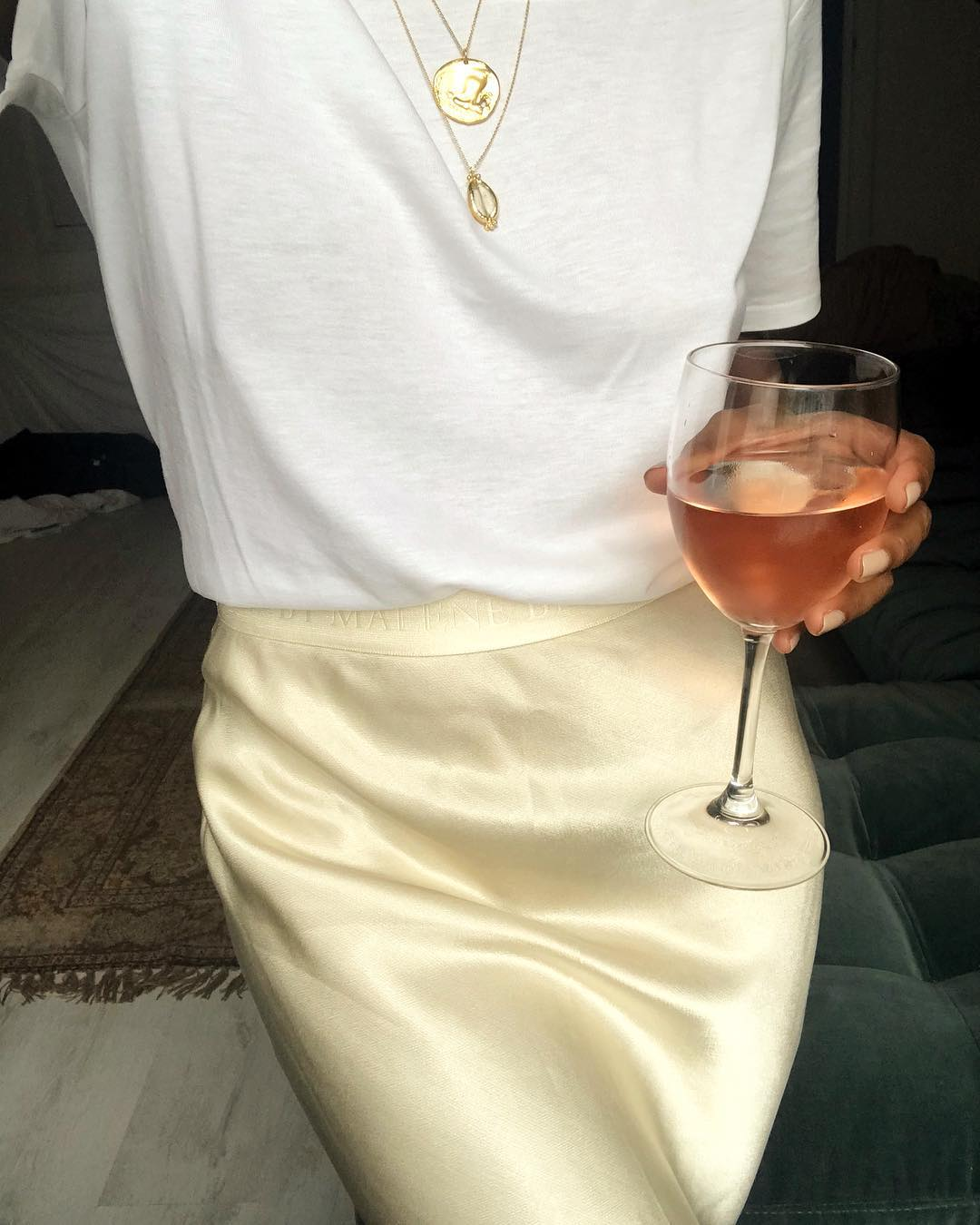 Stylish Outfit for Enjoying Your Summer Rosé — White T-Shirt and Satin Skirt