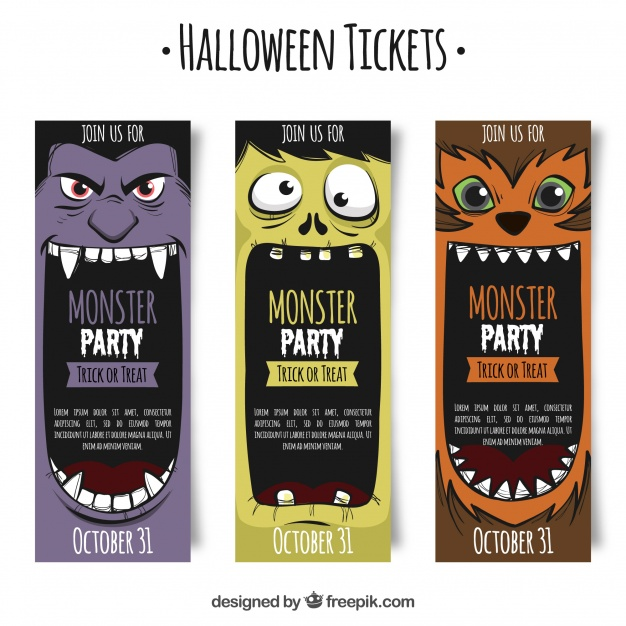 Halloween tickets with monsters Free Vector