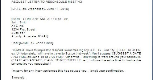 Meeting Reschedule Request Email Format