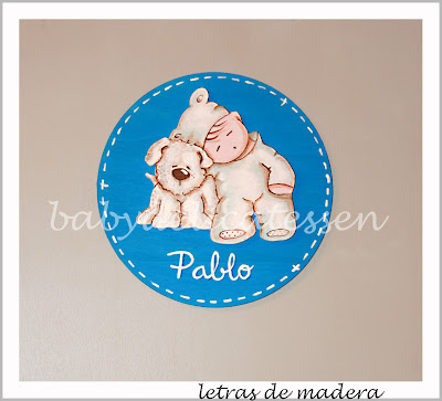 placa de puerta infantil bebé durmiendo con perrito babydelicatessen