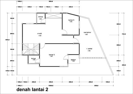 Denah rumah minimalis dua lantai luas bangunan 200m2 4 kamar tidur