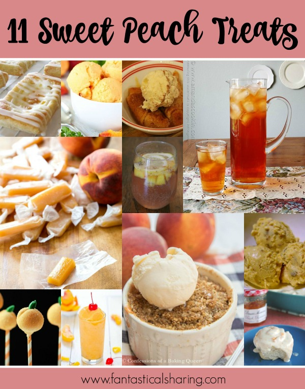 These 11 Sweet Peach Treats are perfect for the month of August - which is National Peach Month! #peach #dessert #sweets #breakfast #beverage