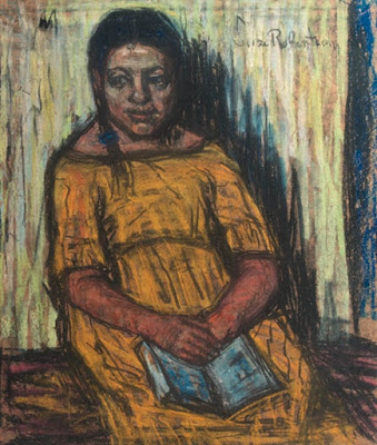 Rachel - A seated girl in a yellow dress, Suze Robertson