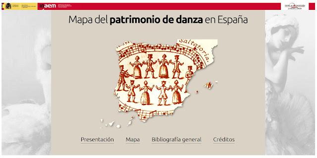 Mapa del patrimonio de danza en España.