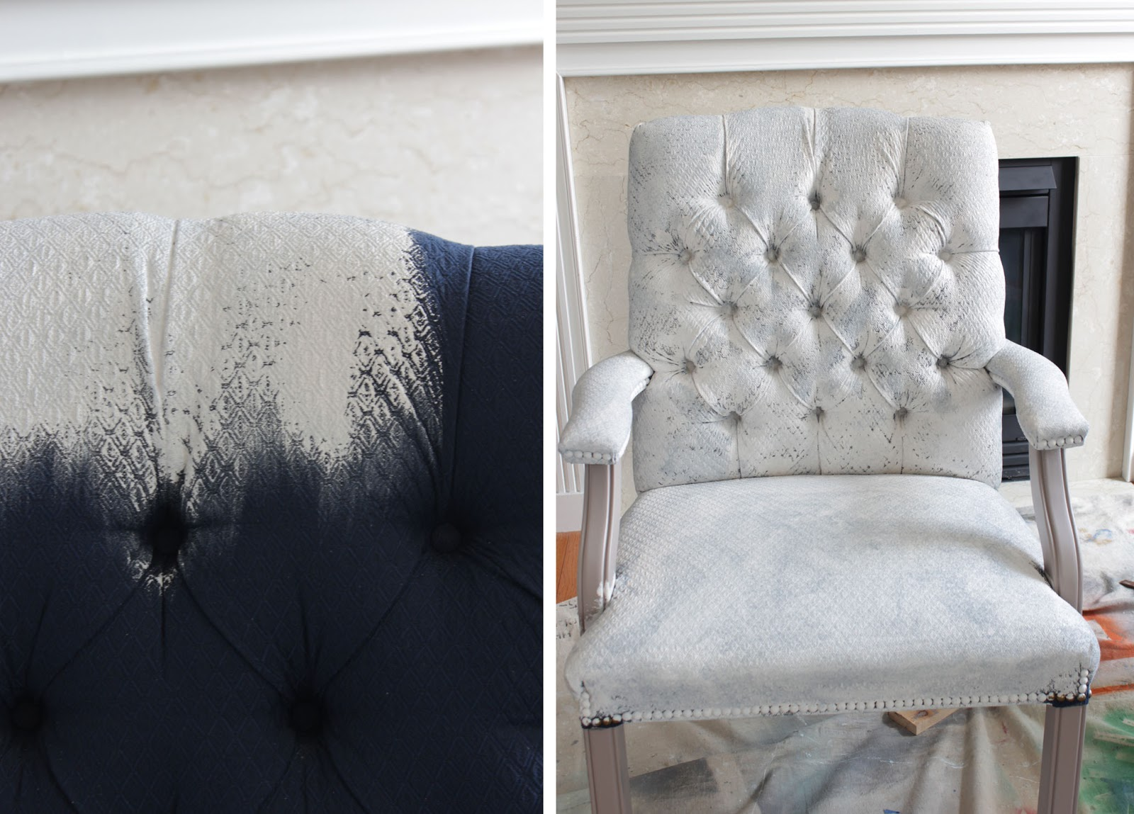 For The First Chair I Used A Purdy Paint Brush To Paint Most Of The Chair.  I Had To Come Back To Paint The Tufted Back With A Smaller Brush, ...