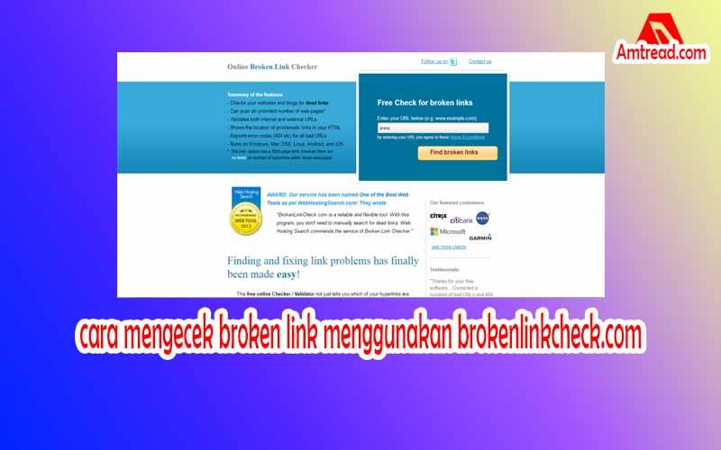 cara mengecek broken link menggunakan brokenlinkcheck.com