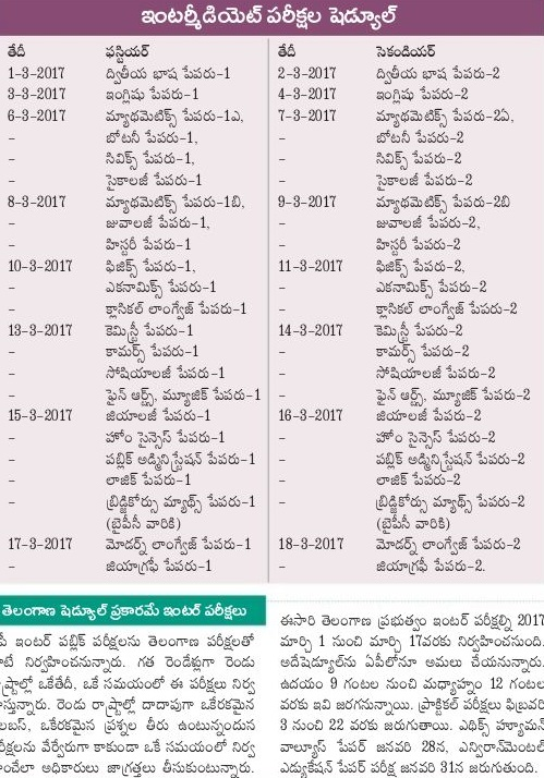 Manabadi AP Inter 1st & 2nd Year Time Table 2017 for bieap.cgg.gov.in