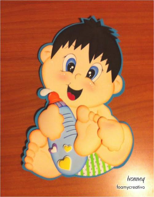 Cartel bebe niño con tetero, foami