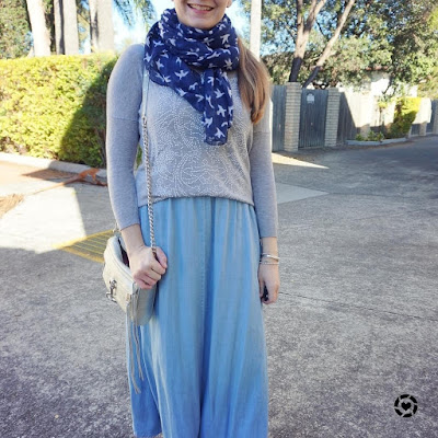 awayfromtheblue instagram embellished grey knit chambray maxi skirt navy scarf mini mac bag