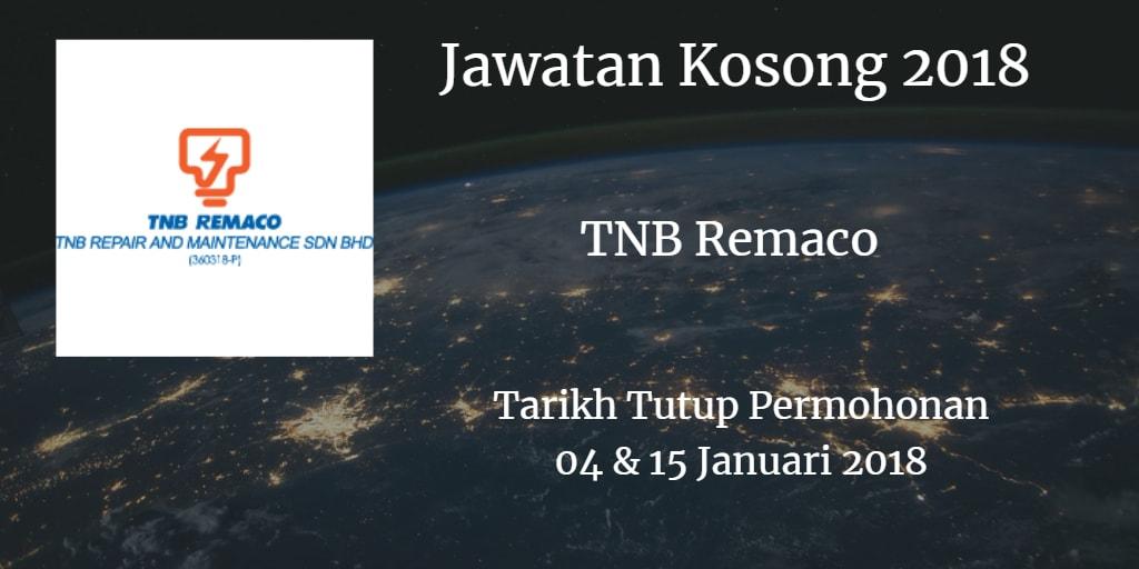 Jawatan Kosong TNB Remaco 04 & 15 Januari 2018