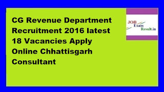 CG Revenue Department Recruitment 2016 latest 18 Vacancies Apply Online Chhattisgarh Consultant
