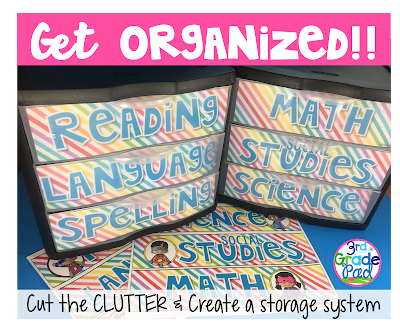 DIY project using Sterlite drawers to organize teaching supplies.  Great organizational tip.  The FREEBIE download makes this quick and simple!