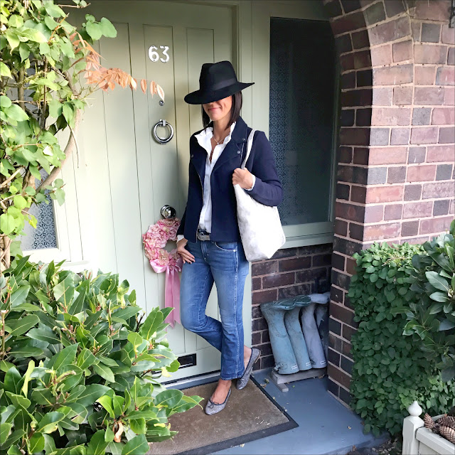 My Midlife fashion, laura ashley, laura ashley white dobby weave blouse, laura ashley boiled wool biker jacket, laura ashley pewter winged shopper bag, j crew IRO Jane cropped kick flare jeans, sparkly silver ballet flats