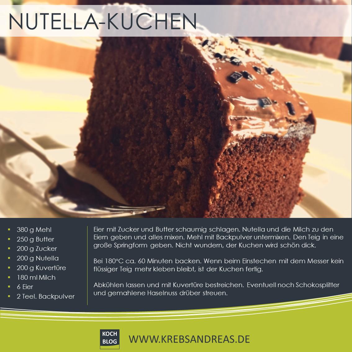 Nutella Kuchen Nutella Kuchen Blume Hausrezepte Von Beliebten Kuchen