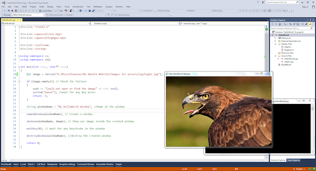 Output of the First HelloWorld OpenCV application in Visual Studio