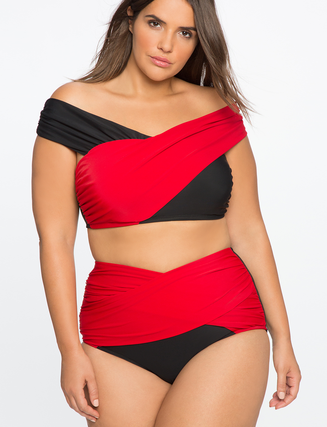 ac99fd6e5bdbec Plus Size Cross Front Bikini Top in Black and Red by Eloquii. Off The  Shoulder ...