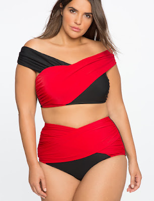 Plus Size Cross Front Bikini Top in Black and Red by Eloquii