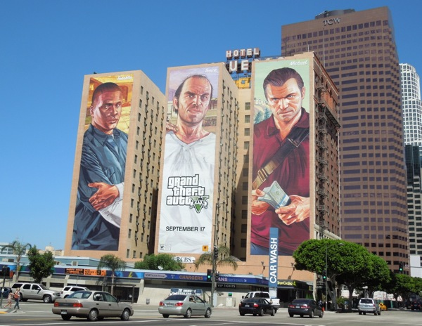 Grand Theft Auto V billboard trio Hotel Figueroa