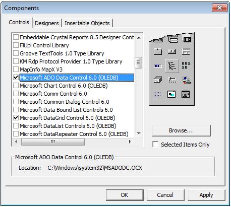 Cara Menampilkan DataGrid Dan Adodc Pada ToolBox di Visual Basic 6.0, Cara Menampilkan DataGrid Dan Adodc Pada ToolBox di Visual Basic 6.0, Adodc dan DataGrid , Label, TextBox, Frame, CommandButton,