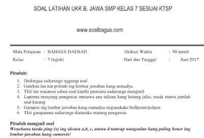 Soal UKK/ UAS B. Jawa Kelas 7 SMP/ MTs Semester 2