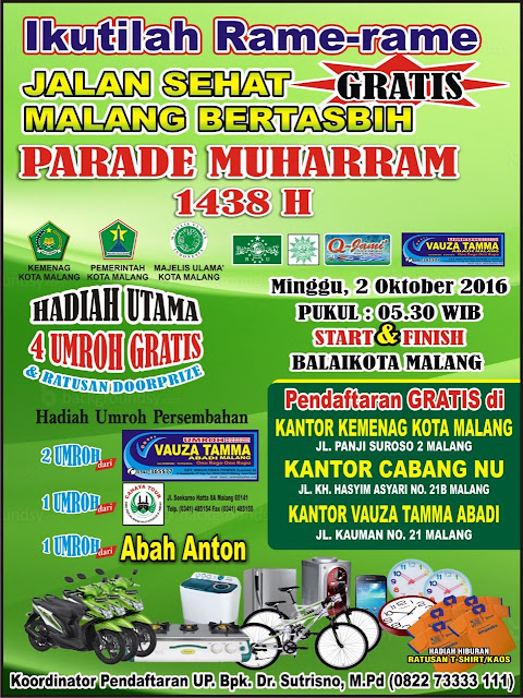 Jalan Sehat Malang Bertasbih Parade Muharram 1438 Balaikota Malang