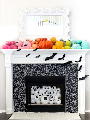 Colorful Halloween Mantel