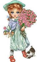Dibujo de una niña cargando rosas a colores