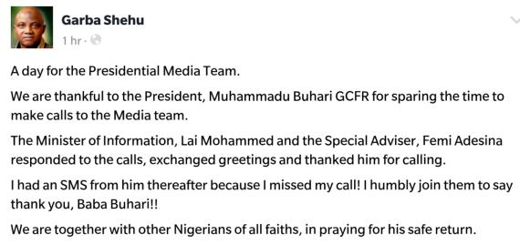 Garba Shehu misses President Buhari's phone, receives text message