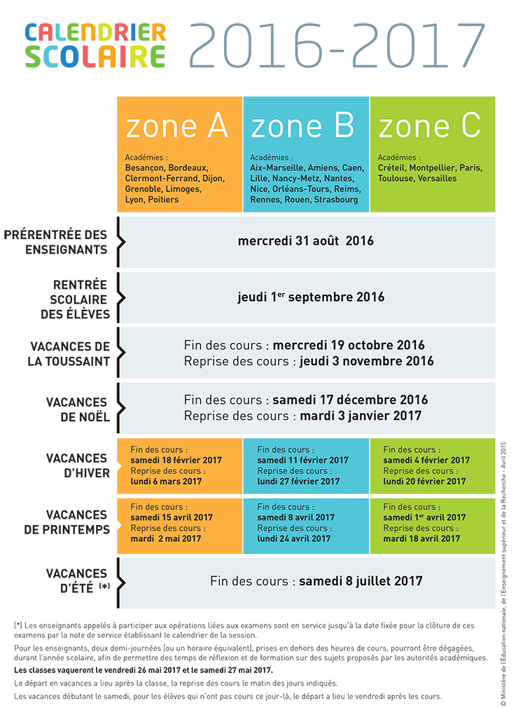 Enseignement be Calendrier scolaire