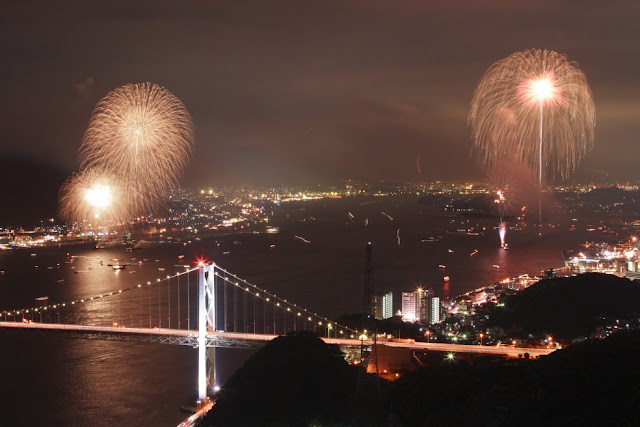Kammon Kaikyo Fireworks Festival at Shimonoseki, Yamaguchi
