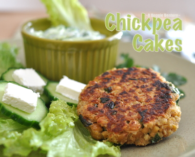 Chickpea Cakes with Cucumber-Yogurt Sauce, another Healthy Vegetarian Weeknight Dinner Idea ♥ A Veggie Venture. Low Fat. High Protein. Weight Watchers Friendly.