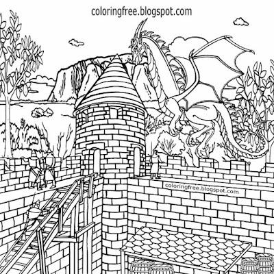 Military stronghold tower printable dragon coloring pages for kids medieval castle drawing pictures