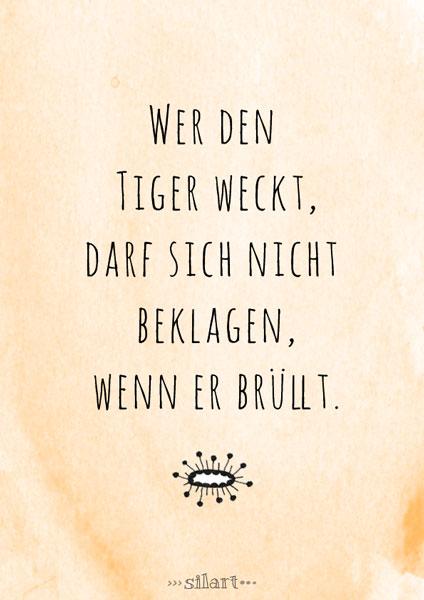 Wer den Tiger weckt, lettering card