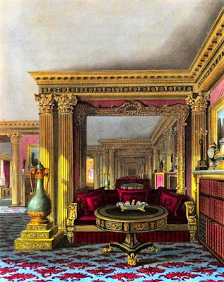 The Alcove, Golden Drawing Room, Carlton House, from The History of the Royal Residences by WH Pyne (1819)