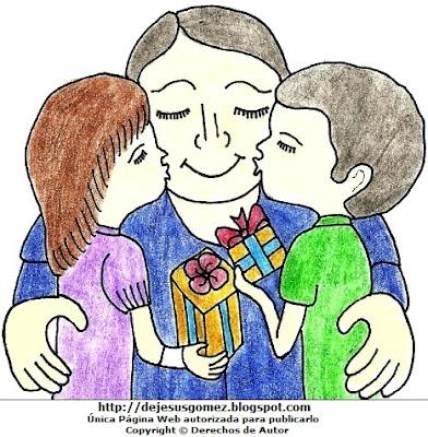 Dibujo de un papá recibiendo besos de sus hijos por el Día del padre  (Niños dando besos y regalos a su papá). Dibujo del papá con sus hijos hecho por Jesus Gómez