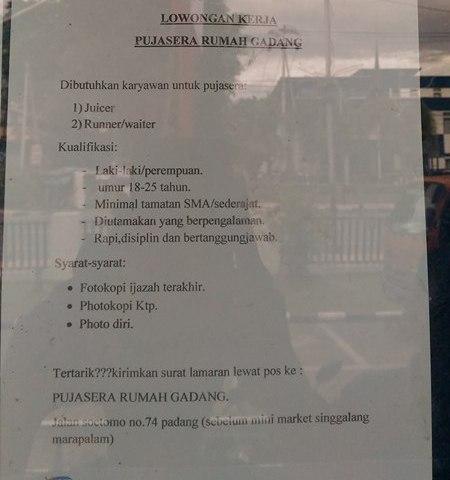 Lowongan Kerja di Padang – Pujasera Rumah Gadang – 2 Posisi – (Penutupan 15 Okt.2016)