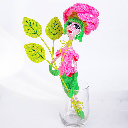 Rose flower doll Crochet Pattern