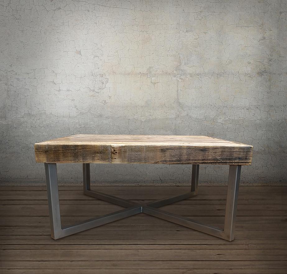 Coffee Table 3 Layers Black Square Metal Legs: JW Atlas Wood Co