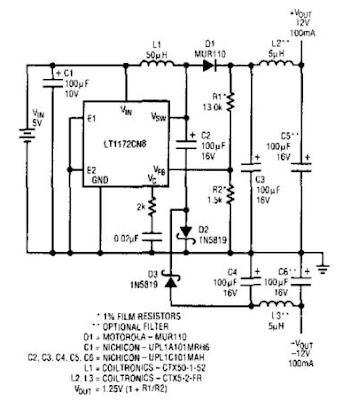 Positive And Negative Voltage Switching Supply  Circuit Diagram