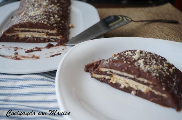 Tarta De Galletas, Flan Y Chocolate Sin Horno