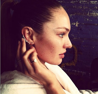 Candice Swanepoel with Tragus Piercing