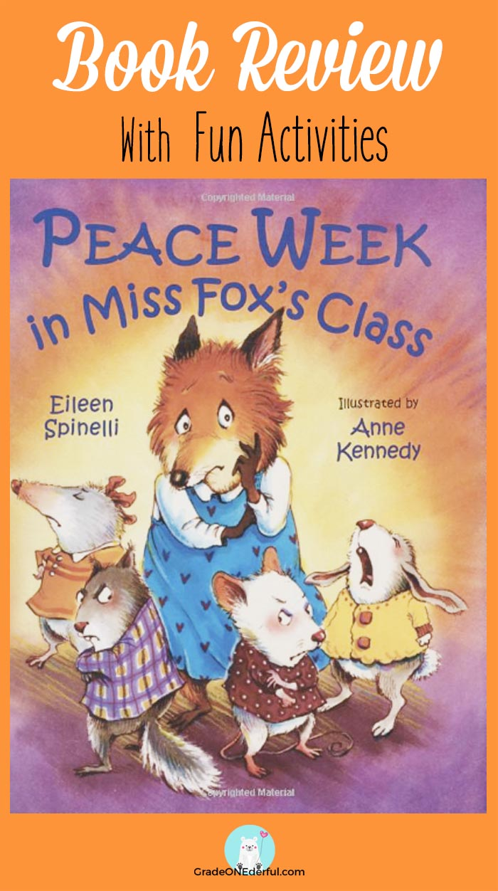 Peace Week in Miss Fox's Class Book Review with activities. PLUS, a super cut clipart fox freebie. By GradeONEderful.com