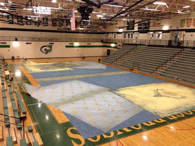 Mythical beast floor covering for dance team / winterguard style performance