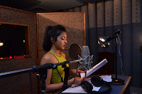 Actress Catherine Tresa Pos during Self Dubbing for Gautham Nanda Movie  0039.JPG