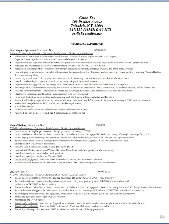 windows system administrator sample resume format in word free download
