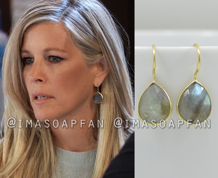 Carly Corinthos, Laura Wright, Labradorite Teardrop Earrings, General Hospital, GH