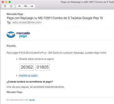 Segundo email con cupon de Rapipago de compra de tarjeta Google Play