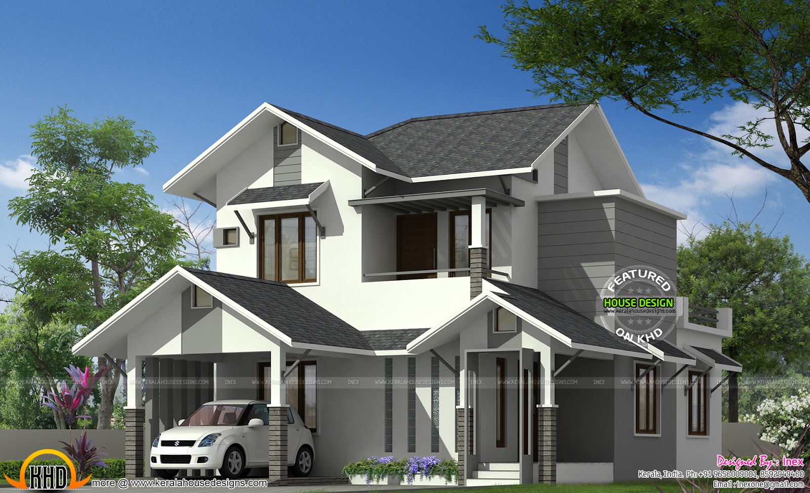 2000 sq ft sloping roof modern home kerala home design for 2000 sq ft contemporary house plans